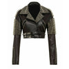 Women Jacket Silver Spiked Studded Punk Biker Leather Jacket