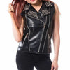 Made To Order Women Brando Biker Double Zipper Real Leather Silver Studded Vest -