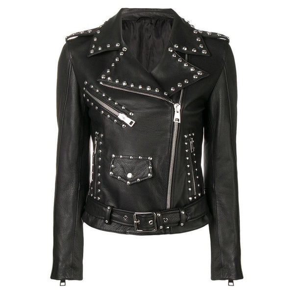 Women Silver Studded Leather Jacket Spiked Silver Color Studs Real Leather Black - jackethunt
