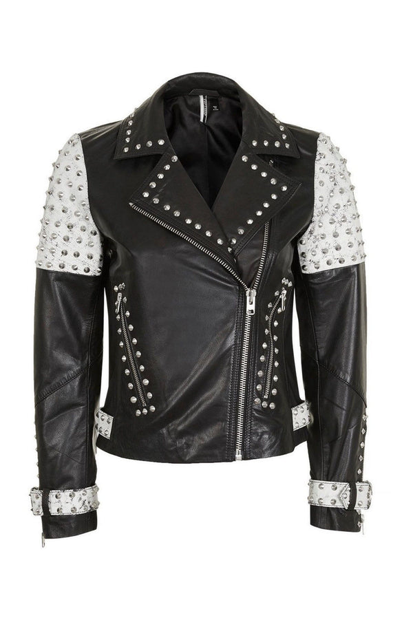 Women's Two Tone Contrast Genuine Leather Silver Spike Studded Brando Jacket - Jackethunt