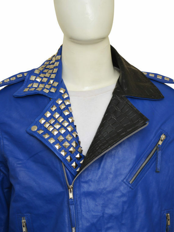 Men Blue Black Cont Genuine Leather Coat Silver Studded Shoulder Epaulets Jacket -