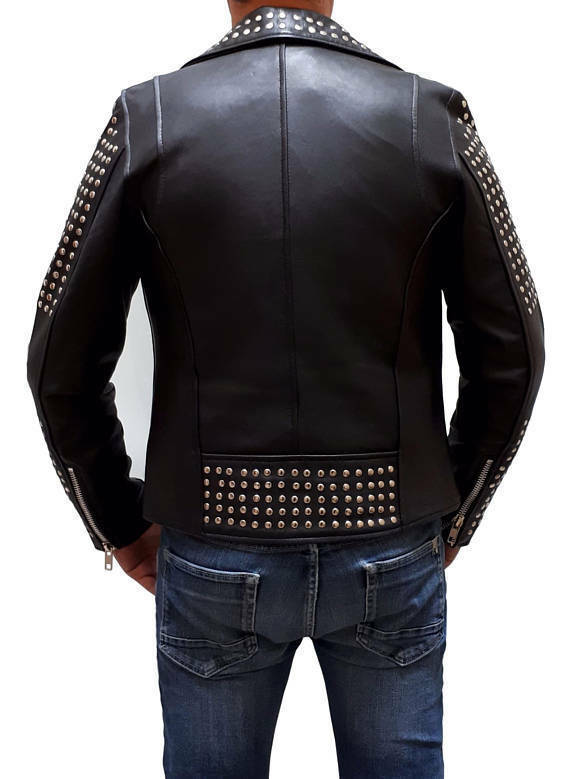 Men's Black Color Biker Genuine Leather Silver Small Studs Brando Style Jacket -