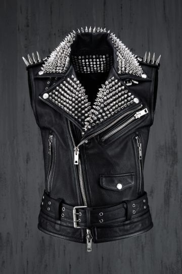 Men Silver Studded Leather Vest Party Wear Winter Summer