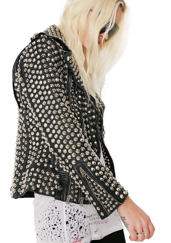 Woman Full Silver Studded Punk Cowhide Leather Jacket 2021