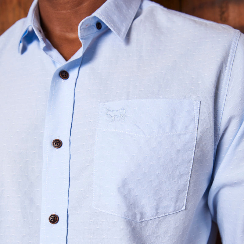 Kingsley Heath Dobby Muscle Fit Oxford Sky Shirt
