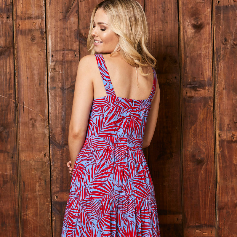 Tropical Leaf Tired Waxbill Dress