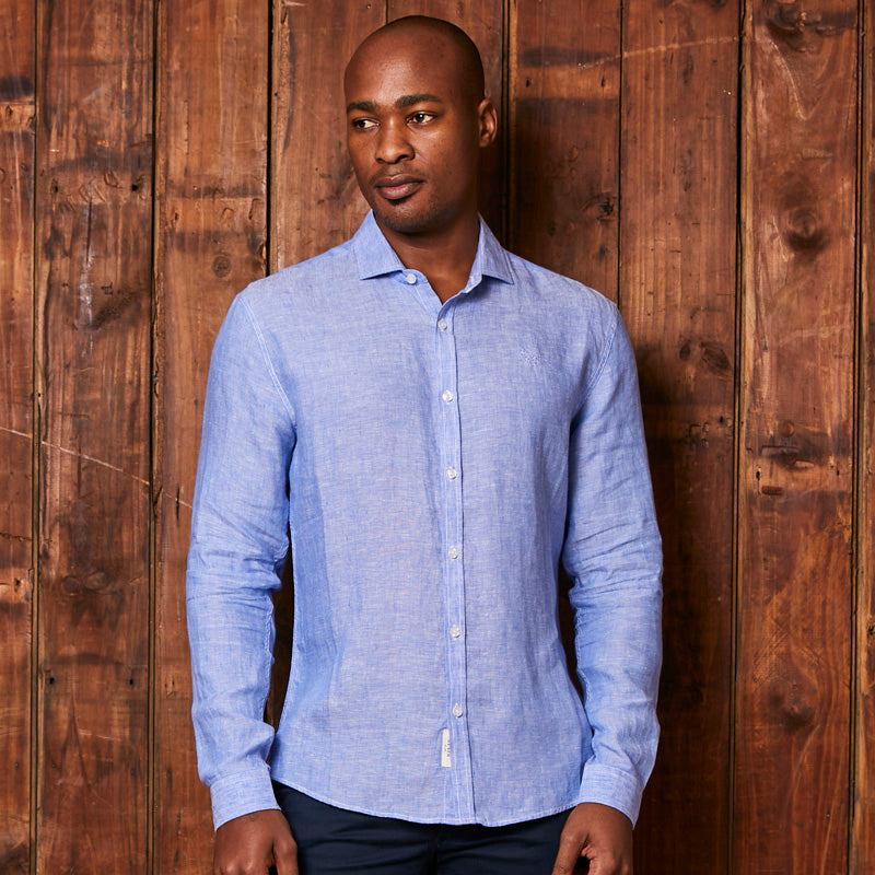 Endless Summer Linen Slim Fit Sky Shirt