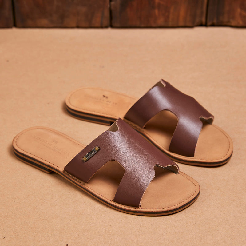 Kingsley Heath H Vamp Sandal Tan/Brass/Tan Sandal