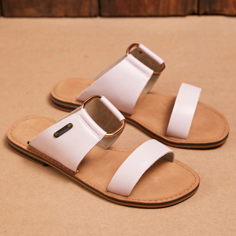Kingsley Heath 2 Strap Metal Mule Blush/Brass/Tan Sandal