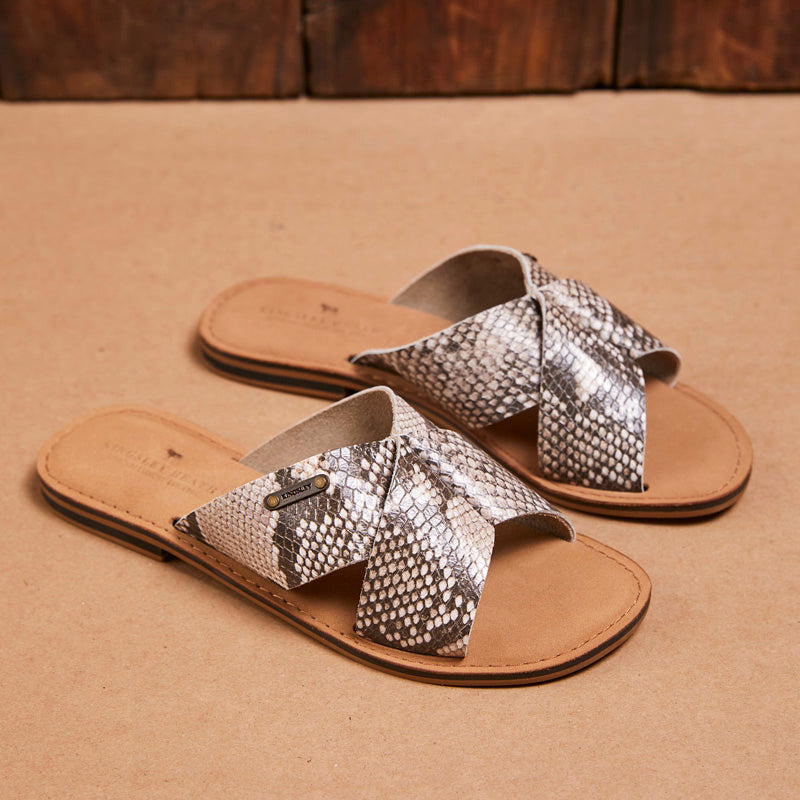 Kingsley Heath Cross Over Mule Snake/Brass/Tan Sandal