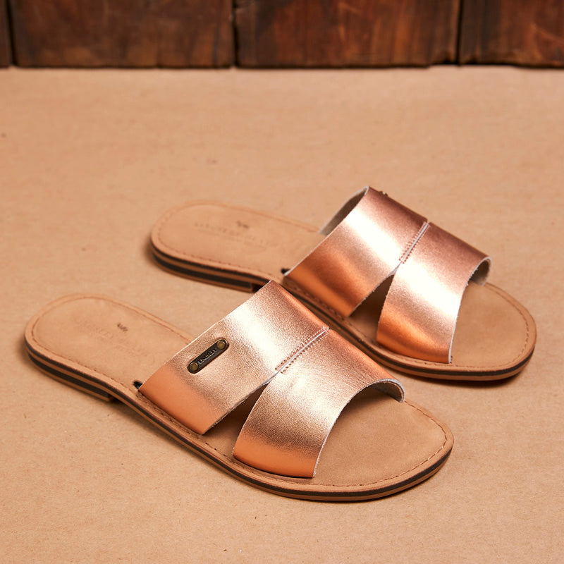 Kingsley Heath Split Vamp Mule Rose Gold/Brass/Tan Sandal