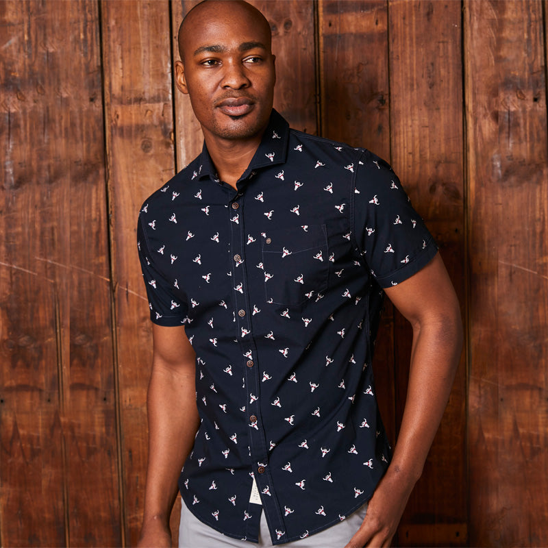 Kingsley Heath Cruising NgunI Shortsleeve Slim Fit Midnight Shirt