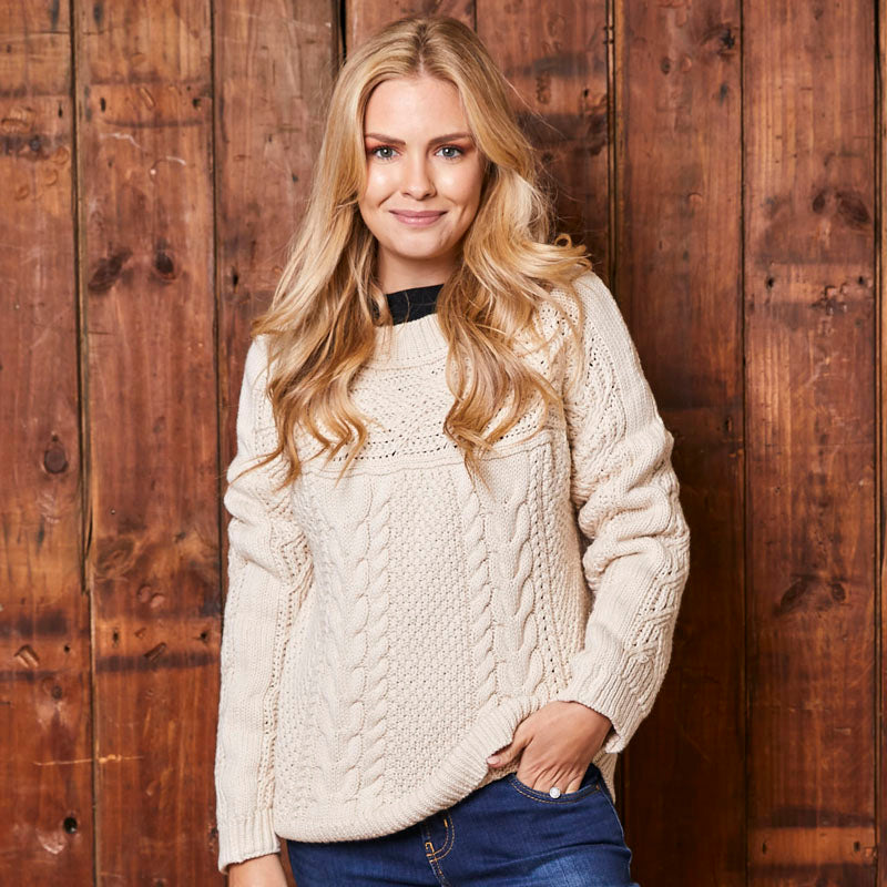 Chunky Cable Knit Ivory Pullover