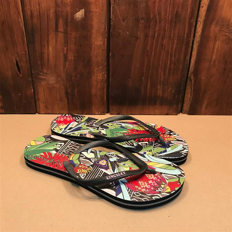 Kingsley Heath Digi Print Floral Tribe Black/Black/Multi Sandal