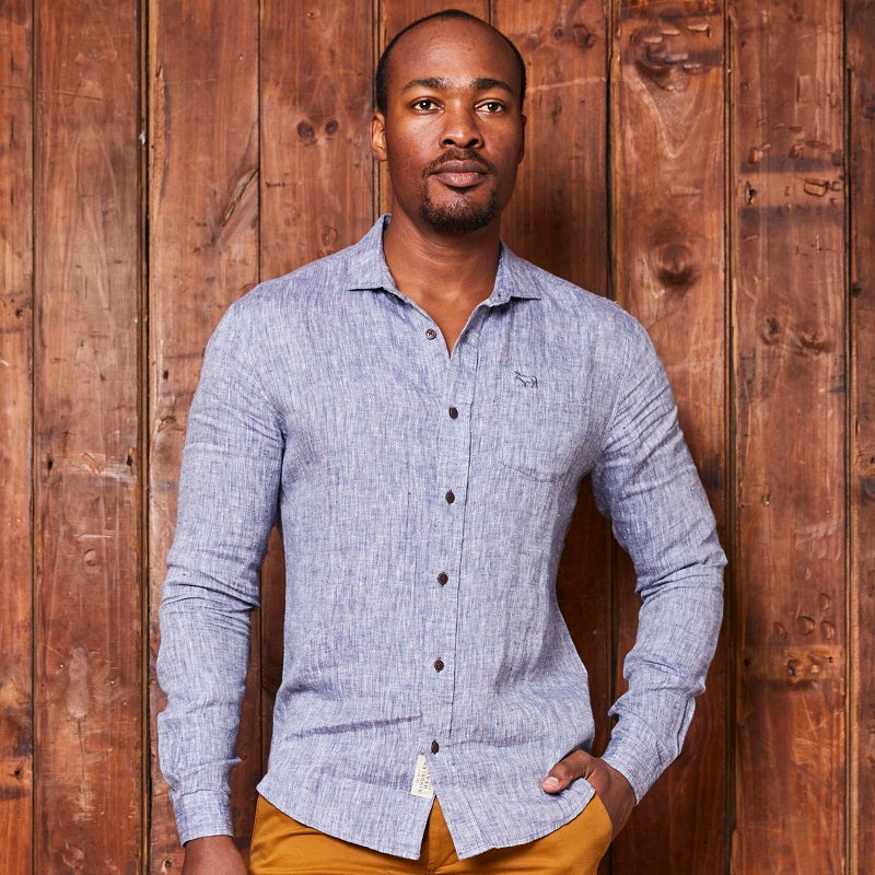 Kingsley Heath Summer Linen Slim Fit Midnight Shirt