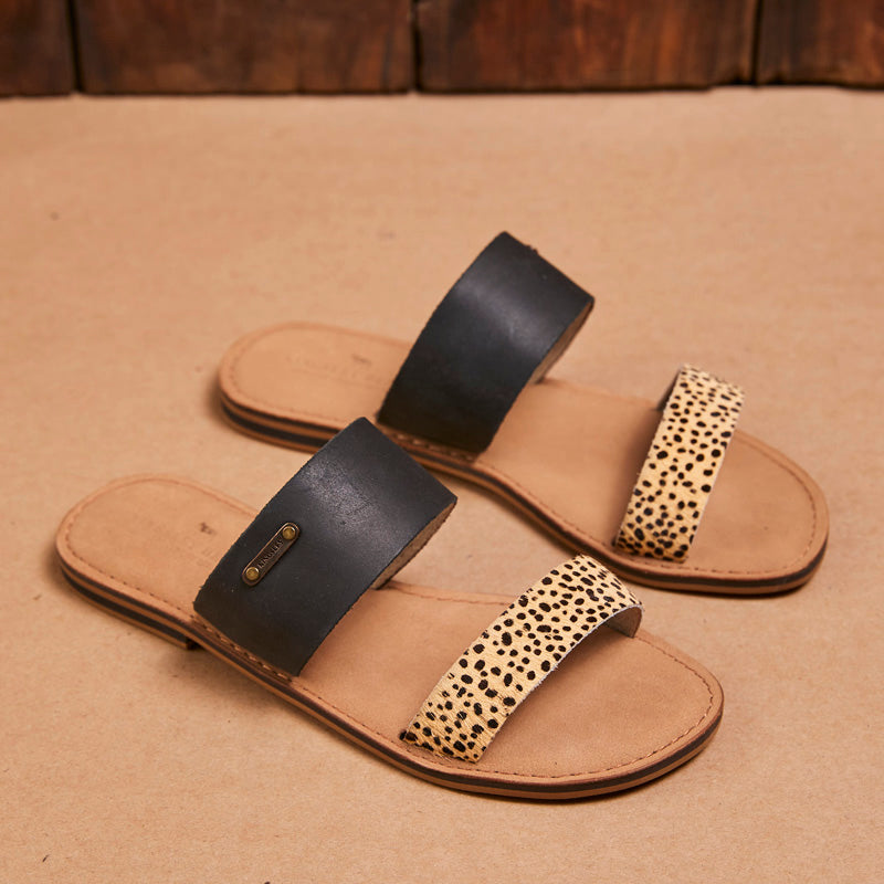 Kingsley Heath 2 Strap Mule Black/Leopard/Brass/Tan Sandal