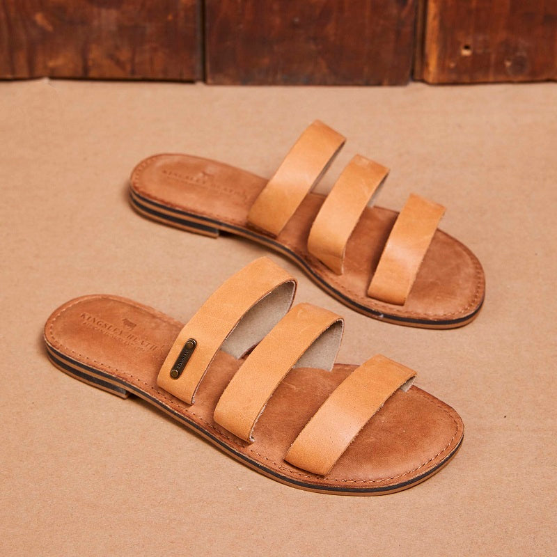 Kingsley Heath 3 Strap Mule Tan/Brass/Tan Sandal