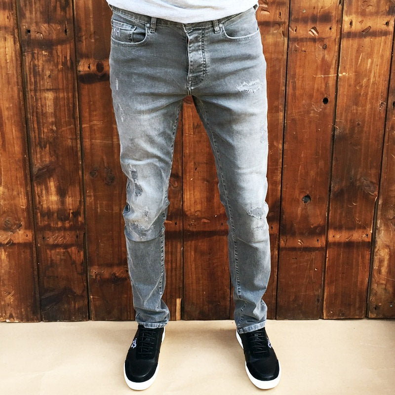 Ranger Slim Light Grey Distressed Denim