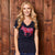 Kingsley Heath Tropical Fill Beaded V-Neck Midnight Tee