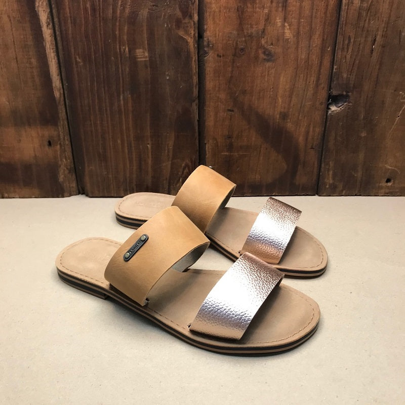 Kingsley Heath 2 Strap Mule Wild/Tan/Brass Sandal