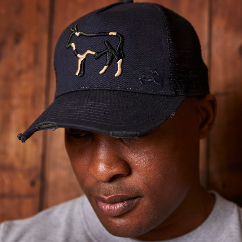 Kingsley Heath Camo Outline Nguni Trucker Midnight Cap