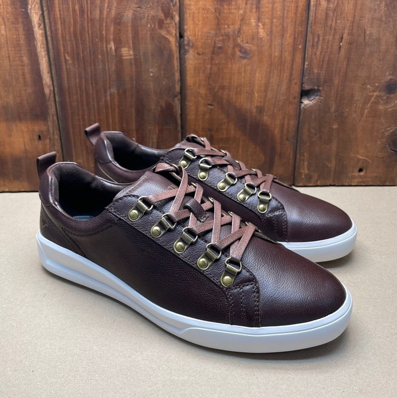 Kingsley Heath Luxe Shield Choc/Brass/White Sneaker