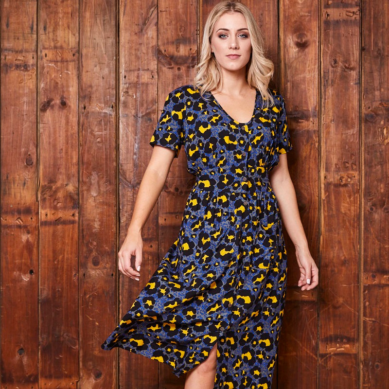 Zingy Leopard Button Through Slate Dress