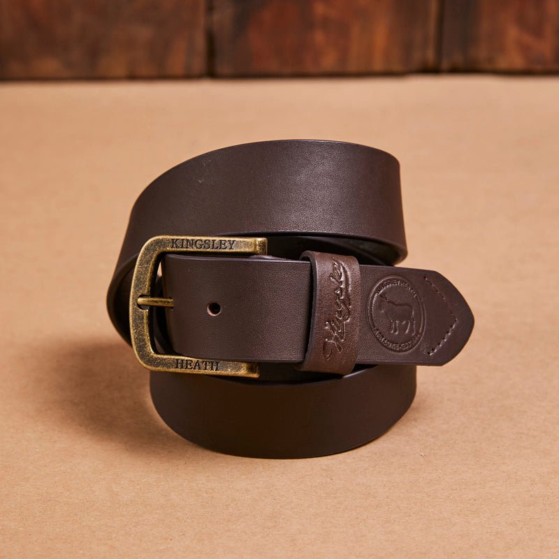 Kingsley Heath Round Nguni Logo Buffalo/Brass Belt