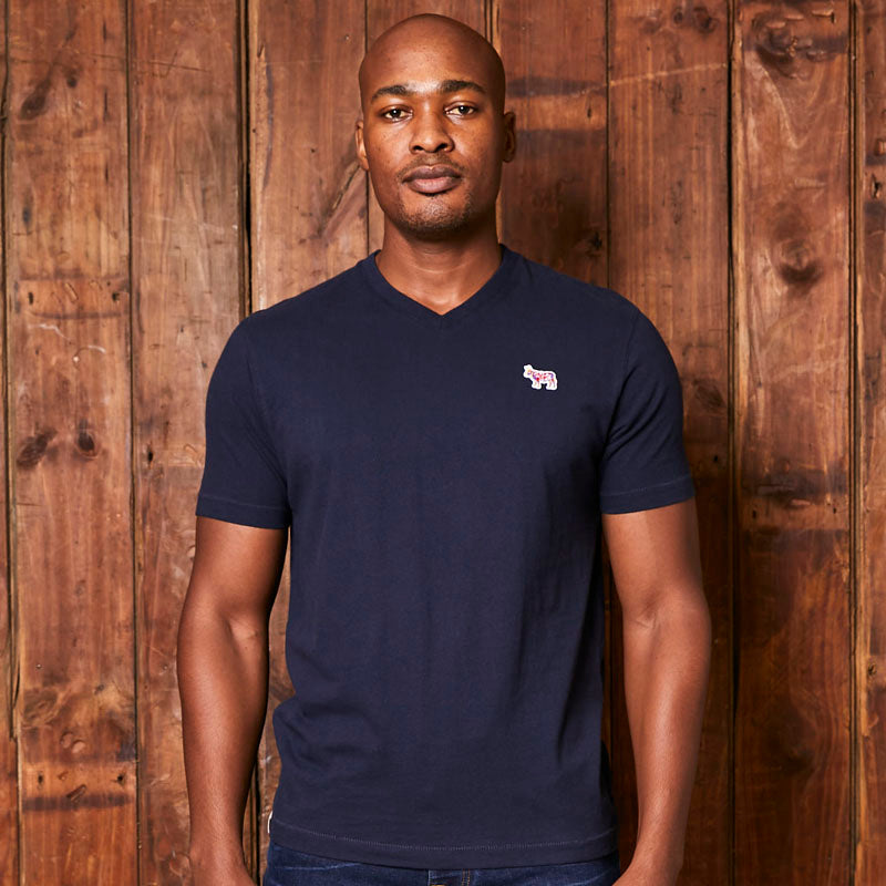 Pop Nguni Badge V-Neck Midnight Tee