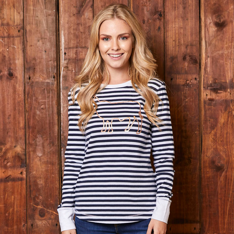 Big Nguni Stripe Long Sleeve Pelican Tee