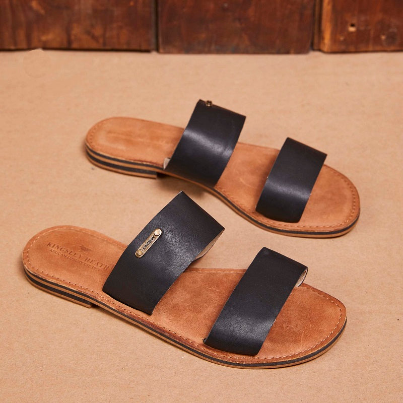 Kingsley Heath 2 Strap Mule Black/Brass/Tan Sandal