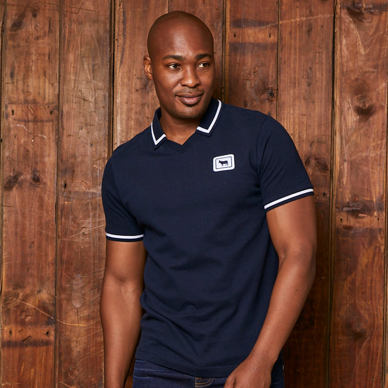 Kingsley Heath Tipped V-Neck Retro Sjcpv Midnight Golfer