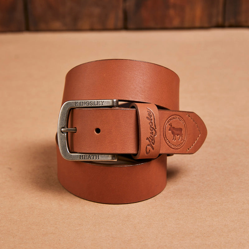 Kingsley Heath Round Nguni Logo Tan/Nickel Belt