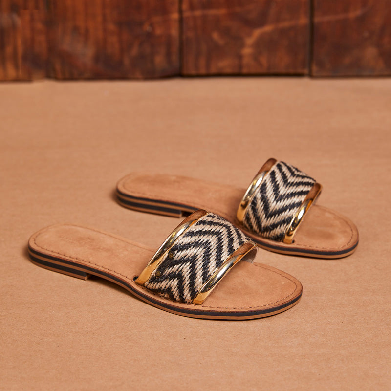 Kingsley Heath Rafia Mule Tan/Brass/Tan Sandal