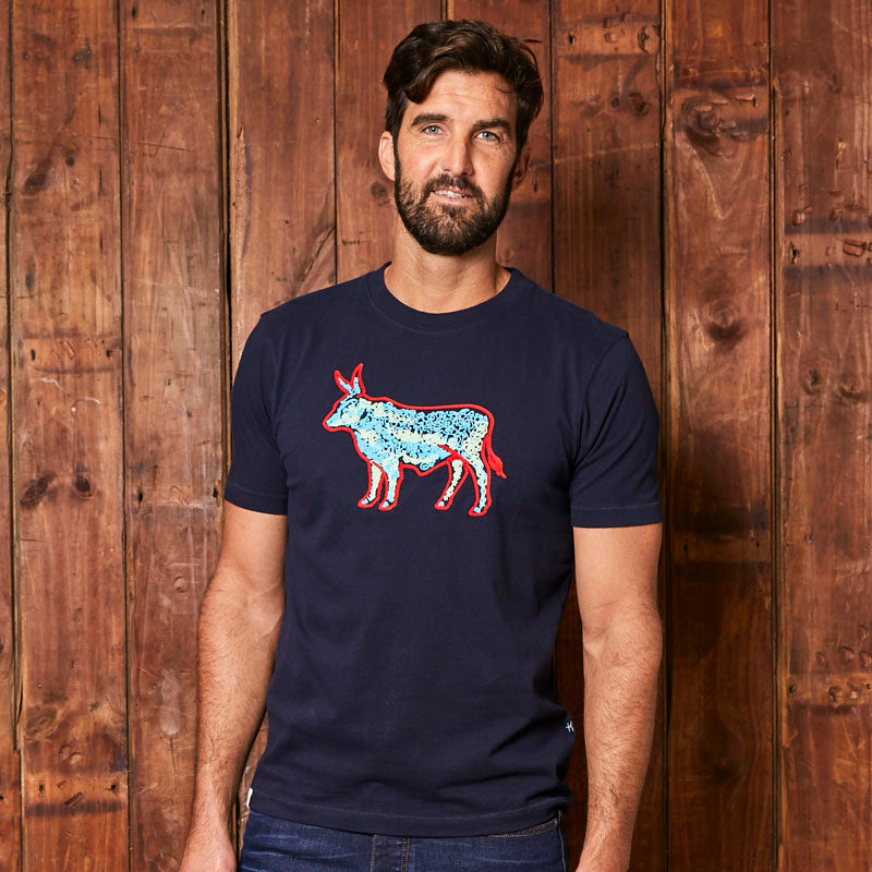 Chain Stitch Nguni Crew Midnight Tee
