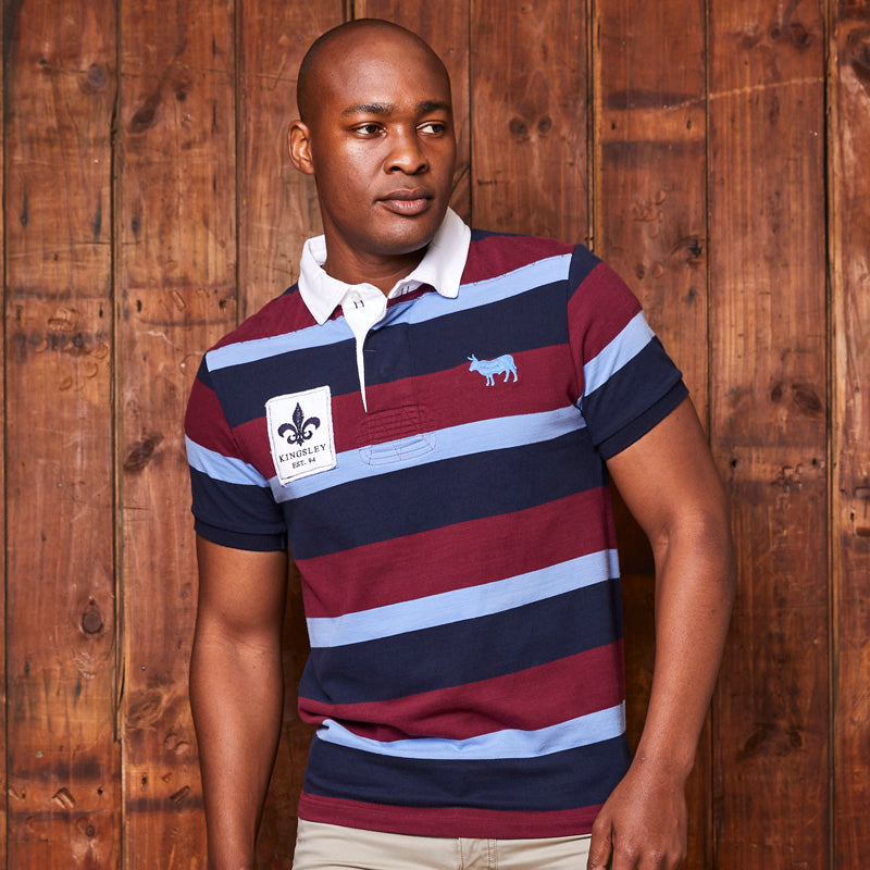 Preppy Striped Shortsleeve Rugby Regular Fit Merlot Golfer