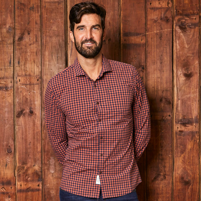 Kingsley Fine Gingham Slim Fit Rust Shirt