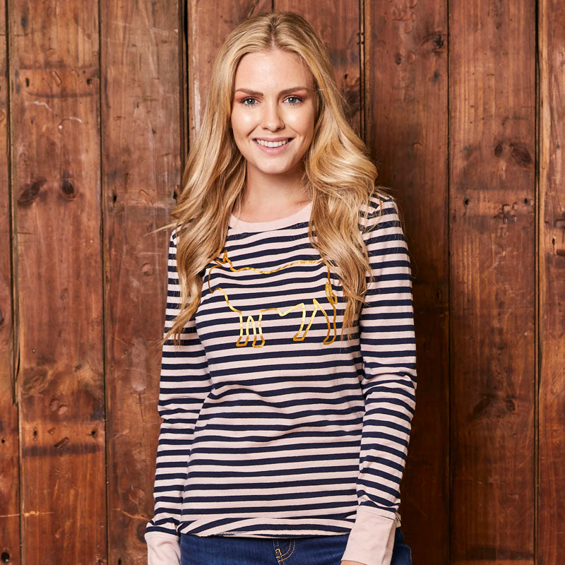 Big Nguni Stripe Long Sleeve Midnight Tee