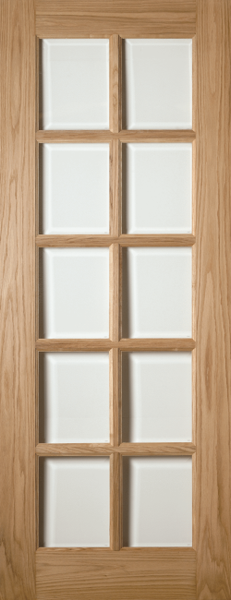 1 Panel Oak 10 Light Glazed Internal Door Q Doors