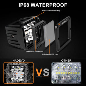 LED Cubes 6 Lighting Modes, 3Inch 72W Amber White LED Square Light Pod with Memory Function, Waterproof Off Road Fog Driving Work Light Bar for Offroad Truck SUV ATV UTV Boat