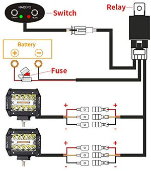 LED Light Bar Wiring Harness, 2 Lead Universal LED Wiring Harness with 12V 40A Relay and Two Control Switches for Switching Between Different Modes