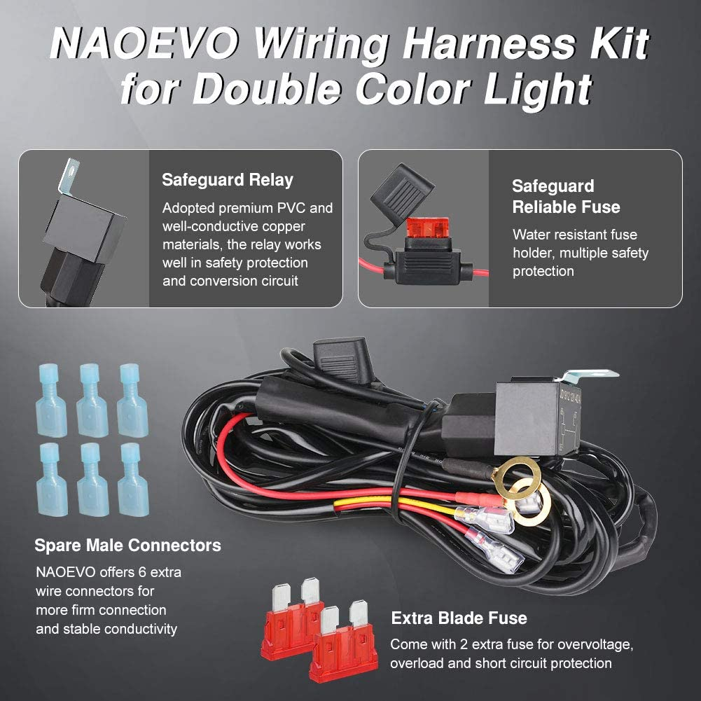 LED Light Bar Wiring Harness, 2 Lead Universal LED Wiring Harness wit –  naoevolightingnaoevo