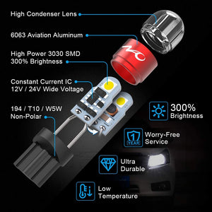 194 LED Bulbs, Super Bright White and Amber Yellow Light, T10 168 2825 W5W Non-Polarity for Car Interior Dome Map Door Courtesy License Plate Lights (White10+Amber2)