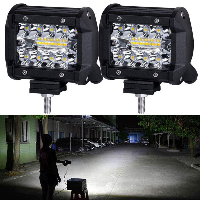LED Pods,NAO LED Work Light Bar Bulb Spot Flood Lights for Trucks 4inch Led Fog Light Bar for Offroad Town Truck Car ATV Boat SUV 2PCS 140W Triple Row