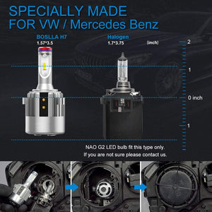 H7 LED Headlight Bulb Specially Made for Volkswagen Passat Golf GTI Tiguan, 7600LM 6000K All-in-One Conversion Kit
