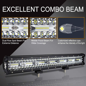 20Inch LED Light Bar NAOEVO 420w Flood Spot Combo Beam Driving Lights Fog Light LED Work Light for Trucks Off Road Boat