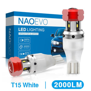 NAO W16W LED T15 921 LED Reverse Light Bulb CANBUS 2000LM 8W T10 W5W 6000K White 912 Car Lamp Backup Light 4SMD CSP 12V