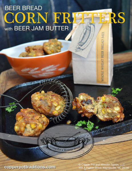 Corn Fritter Recipe Box Collection with Beer Bread Mix, Pickled Jalapenos, and Spiced Apple & Beer Jam
