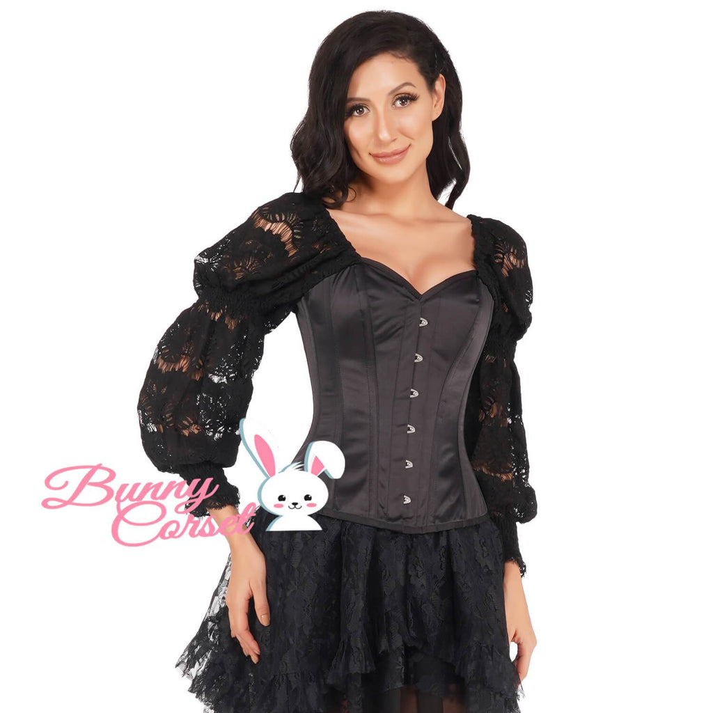 Blakely Satin Corset with Attached Sleeve