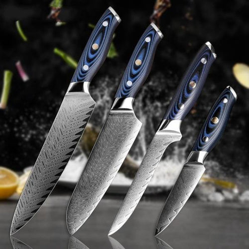 Damascus Pattern Professional Sharp Stainless Steel Knives - Dark Blue - Kitchen Altitude